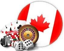 The Canadian flag with all of the popular casino games