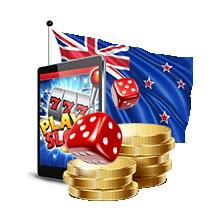 Slots being played on a mobile with dice in front of the New Zealand flag